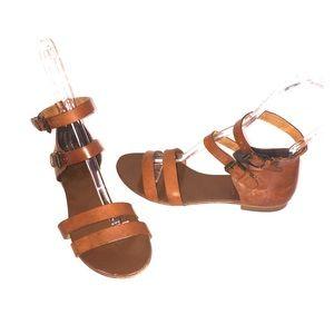 J.Crew Tan Leather ITALY Sandal Gladiator Size 8